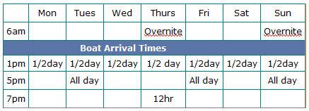 Hubbard's Marina Trip Schedule