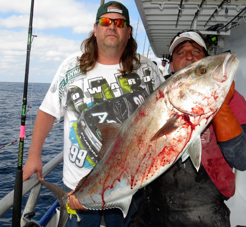 Left-Right- John Lehman from Bloomington Illinois and Ritchie Gollis our 2nd mate showing off John's Big Amberjack from the 39 hour at Hubbard's Marina