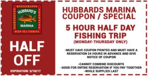 Hubbard's Marina 5-hr Trip Coupon